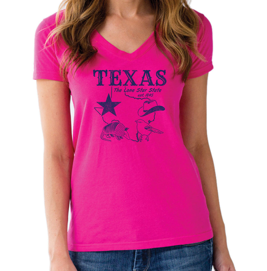 Women's Vintage Texas Vneck T-Shirt Dallas Houston San Antonio Austin