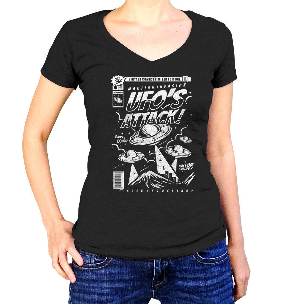 Women's UFO Attack Vneck T-Shirt