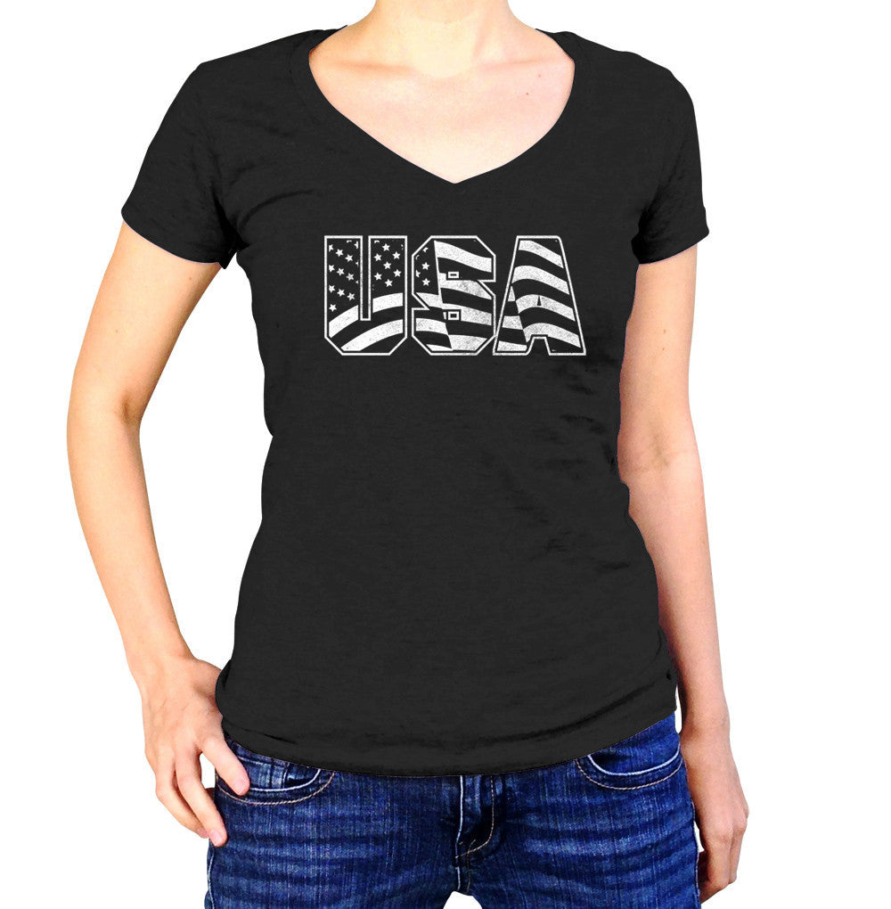 Women's USA Vneck T-Shirt America Patriotic