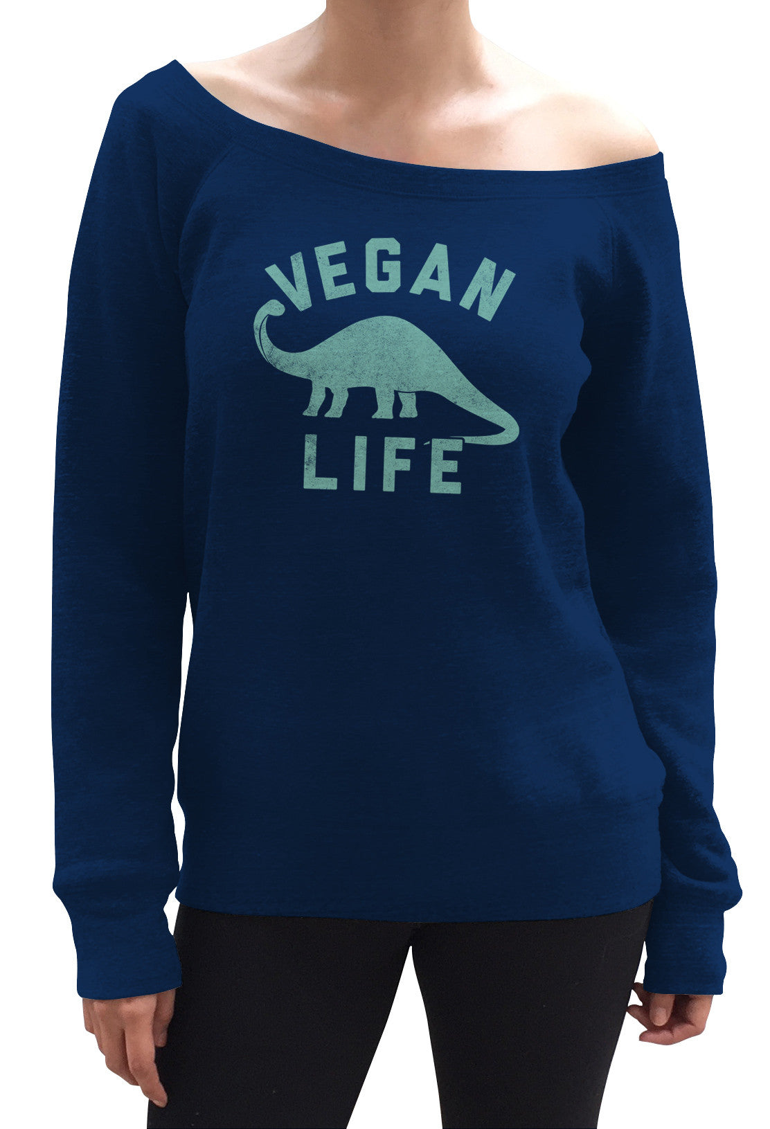 Women's Brontosaurus Vegan Life Scoop Neck Fleece - Funny Vegan Shirt