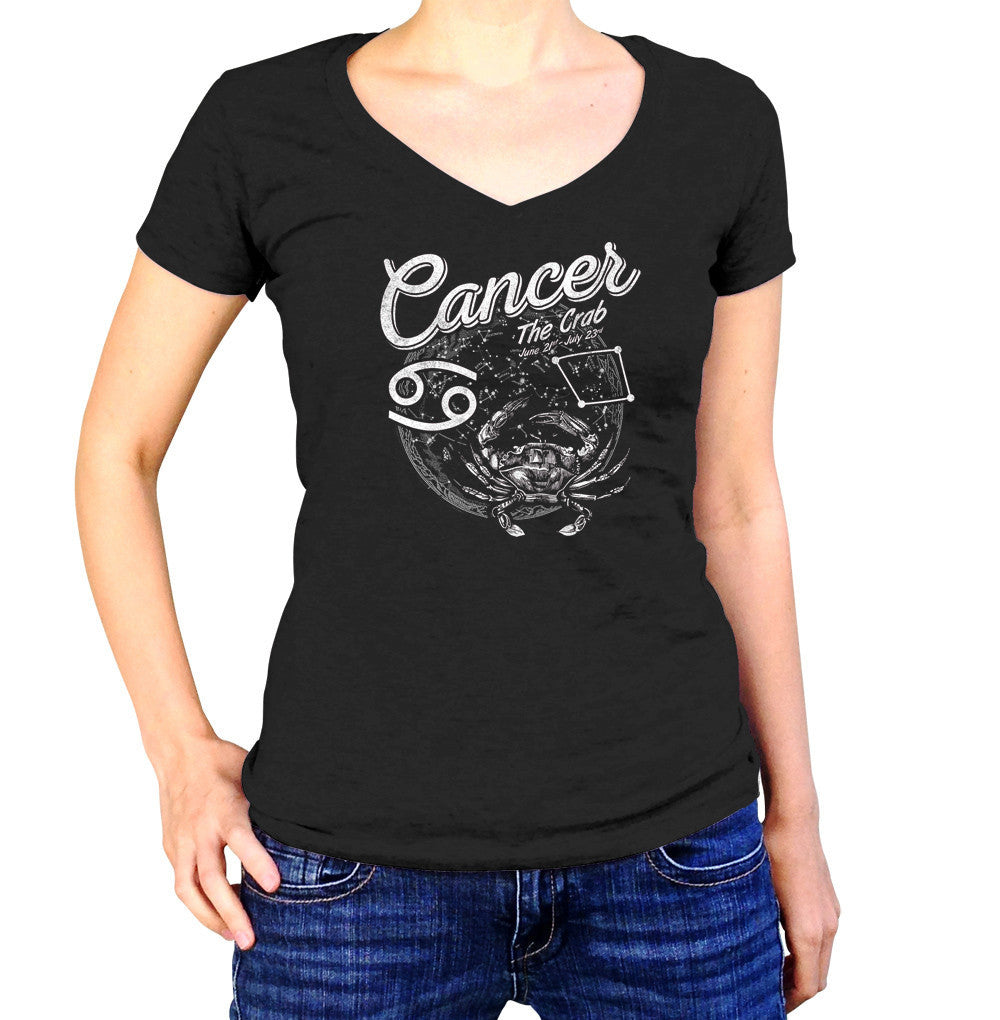 Women's Vintage Cancer Vneck T-Shirt