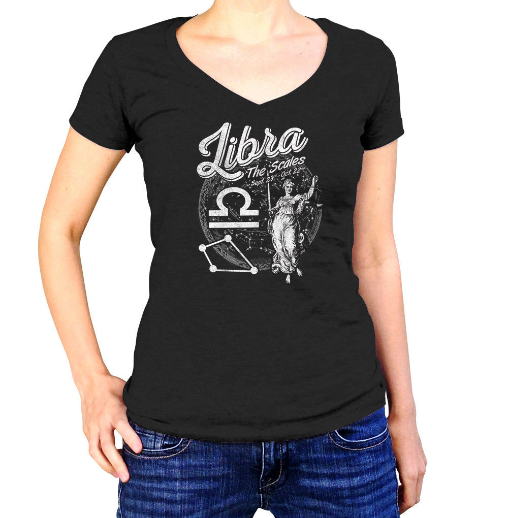 Women's Vintage Libra Vneck T-Shirt - Juniors Fit