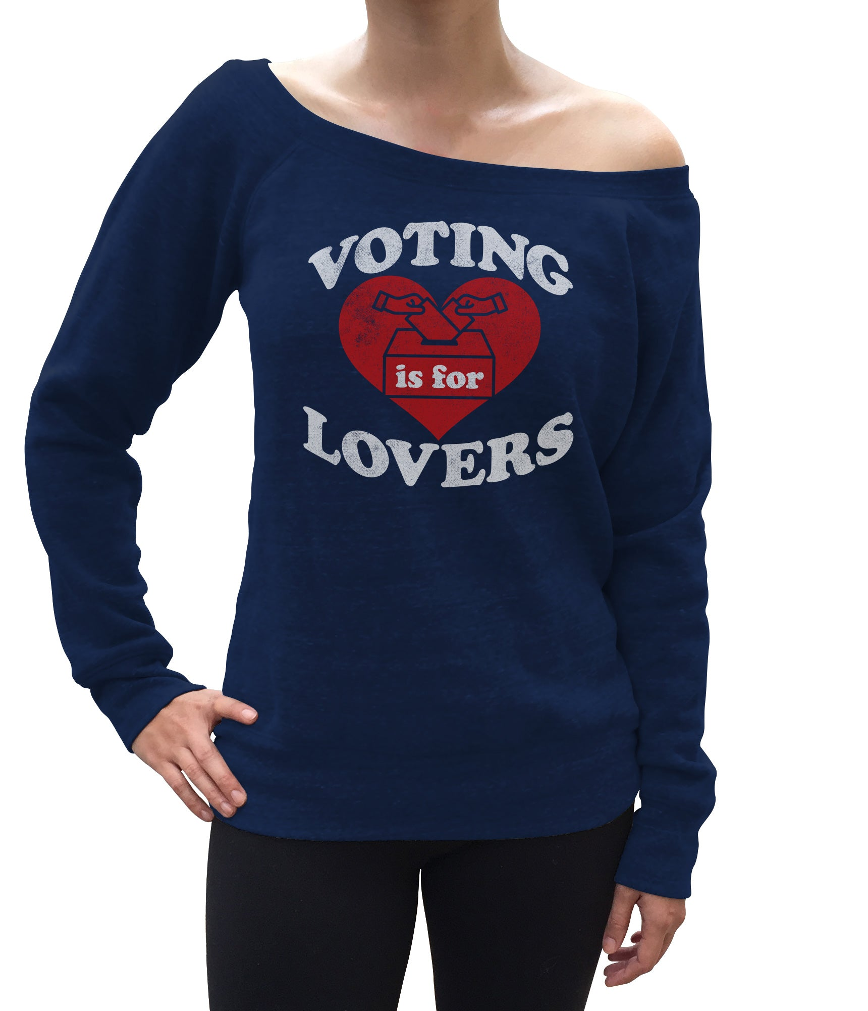 Women's Voting Is For Lovers Scoop Neck Fleece
