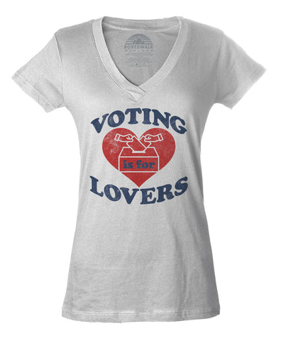 Women's Voting Is For Lovers Vneck T-Shirt