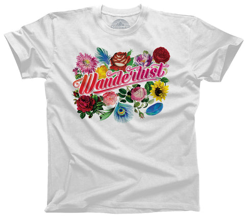 Women's Wanderlust T-Shirt Boho Chic Floral Festival Travel - Relaxed Unisex Fit