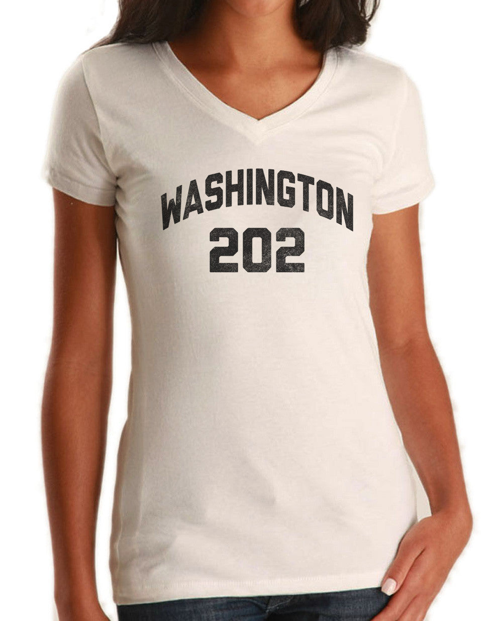 Women's Washington DC 202 Area Code Vneck T-Shirt