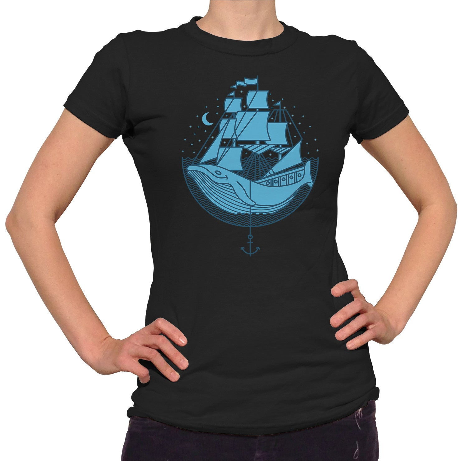 Women's Whale Ship T-Shirt - Juniors Fit