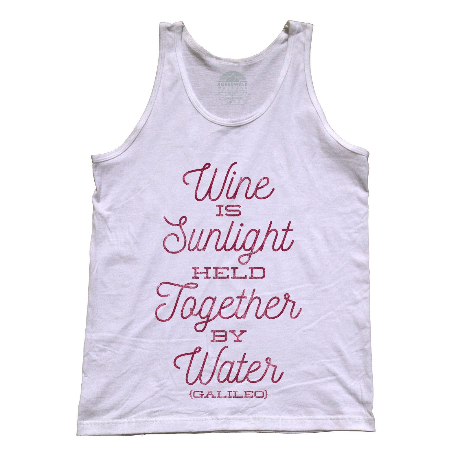 Unisex Wine is Sunlight Held Together By Water Tank Top Wine Lover Shirt