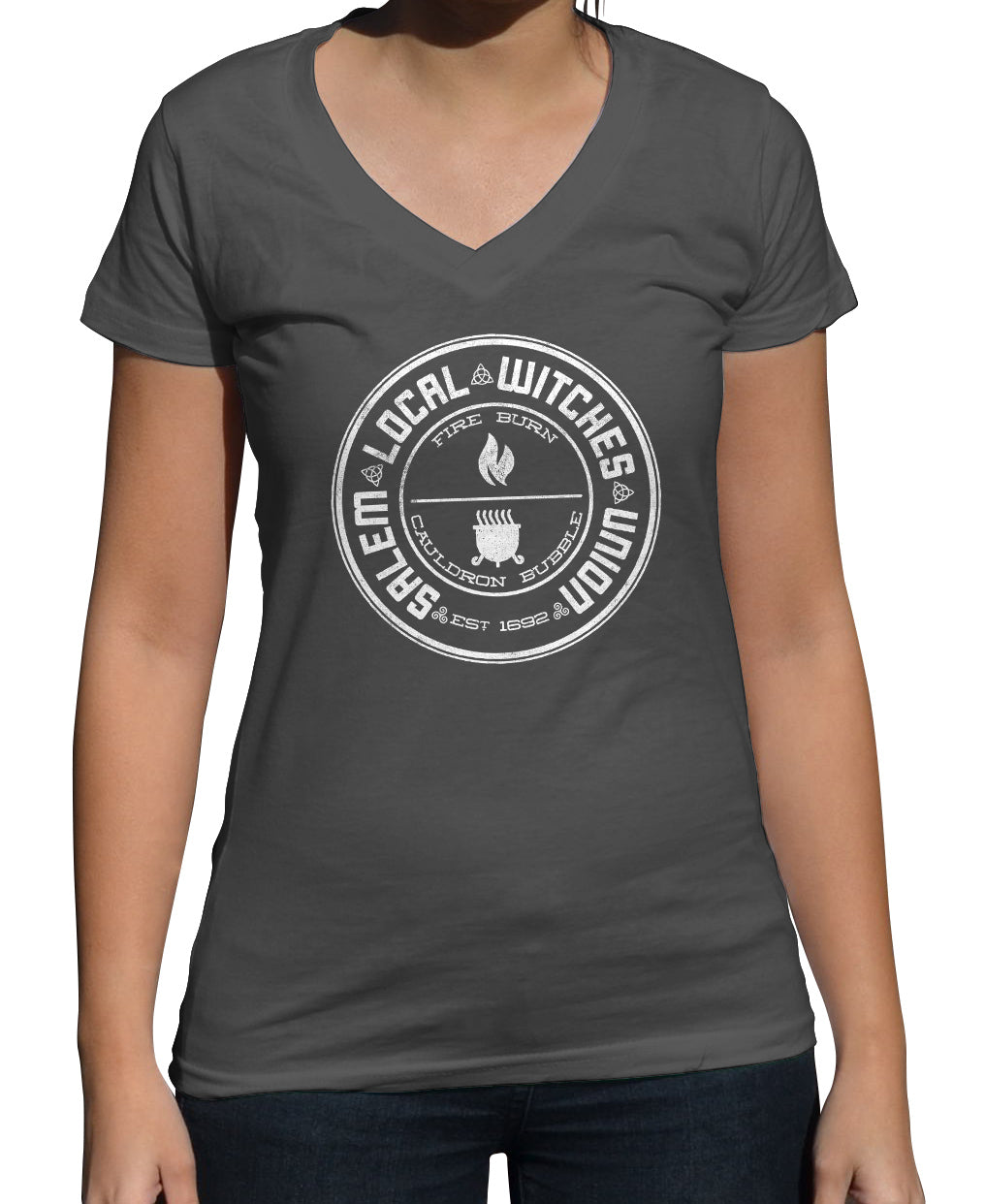 Women's Salem Local Witches Union Vneck T-Shirt