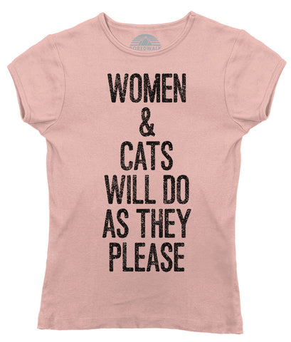 Women's Women and Cats Will Do As They Please T-Shirt - Juniors Fit - Robert A. Heinlein Quote