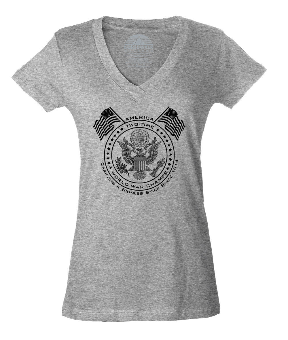 Women's American Two Time World War Champs Vneck T-Shirt