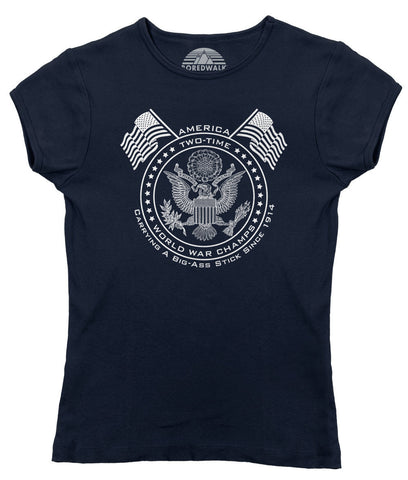 Women's American Two Time World War Champs T-Shirt - Juniors Fit