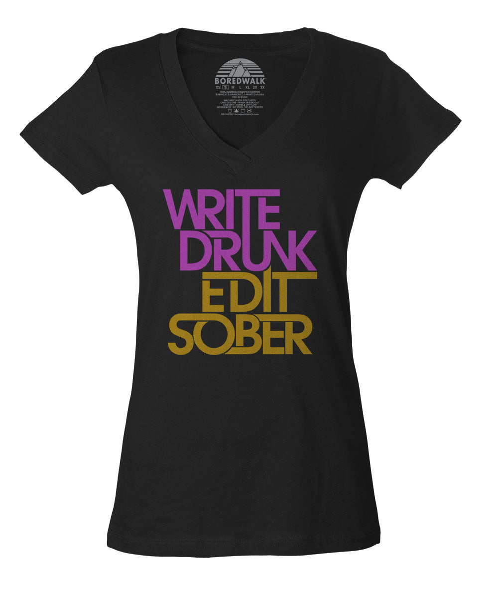 Women's Write Drunk Edit Sober Vneck T-Shirt