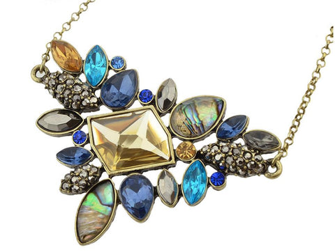 Necklace: Flirty, Flashy, Fun & Fabulous - Art Deco Boho Statement Necklace in Antiqued Bronze Tone