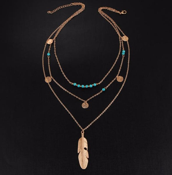 Long Necklace: Golden Leaf Turquoise Accent Layered Necklace