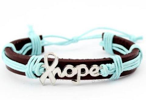 "Bracelet: ""Hope"" Ribbon Leather Cuff Adjustable Width Bracelet - Mint/Teal - OVARIAN CANCER AWARENESS"