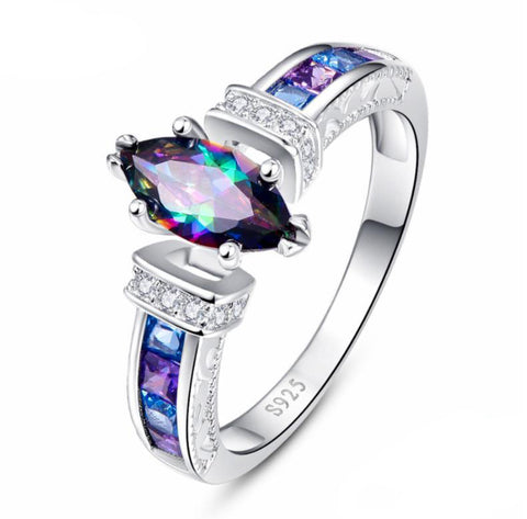 "925 Sterling Silver: Ring: Eye-Catching Mystic Topaz ""Ciara"" Ring"