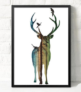 Wall Decor: Unframed Canvas Wall Art - Silhouette Deer Canvas - Buck 2