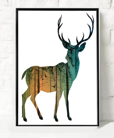Wall Decor: Unframed Canvas Wall Art - Silhouette Deer Canvas - Buck 1