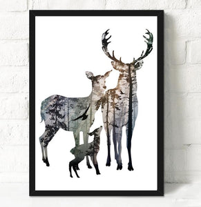 Wall Decor: Unframed Canvas Wall Art - Silhouette Deer Canvas - Family