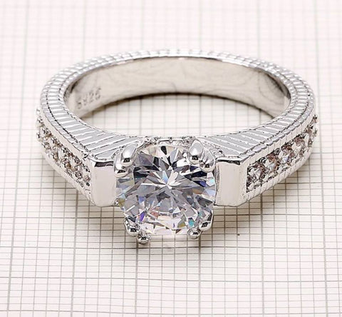 925 Sterling Silver - Vintage Style Engagement Ring