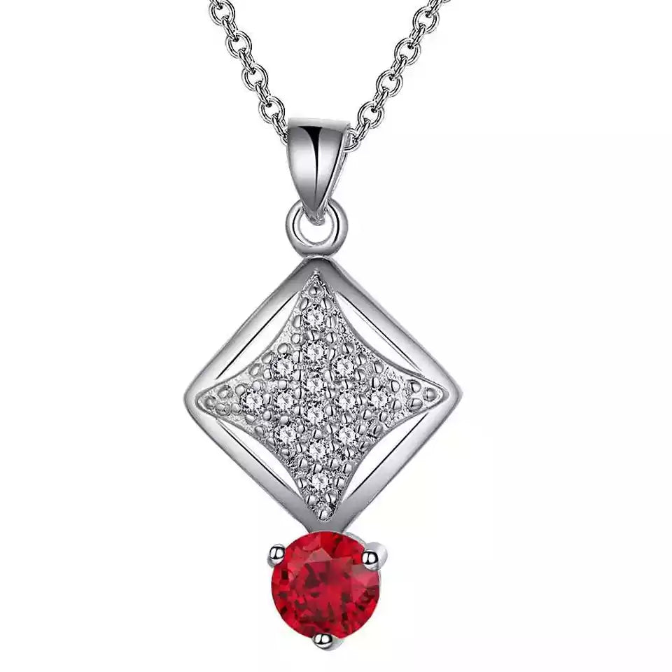 Necklace: Dangle Pendant Necklace - Red