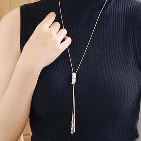 Long Necklace: Silver Tassel Long Necklace