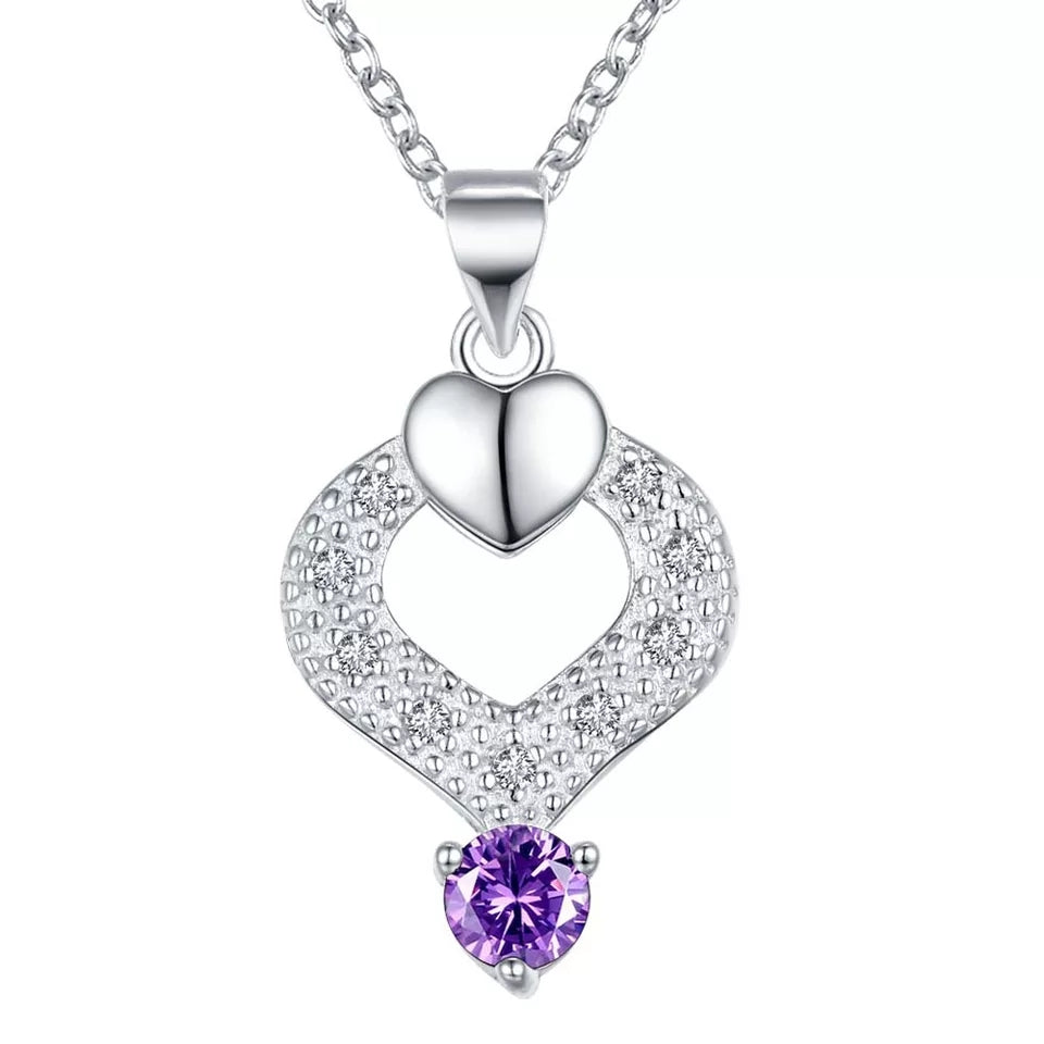 Necklace: Elegant Teardrop Heart Pendant Necklace - Purple