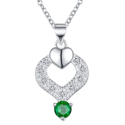 Necklace: Elegant Teardrop Heart Pendant Necklace - Green