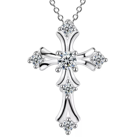 Necklace: Classic Cross with Crystals - Pendant Necklace