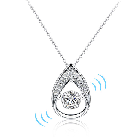 925 Sterling Silver: Vibrating Pendant Necklace