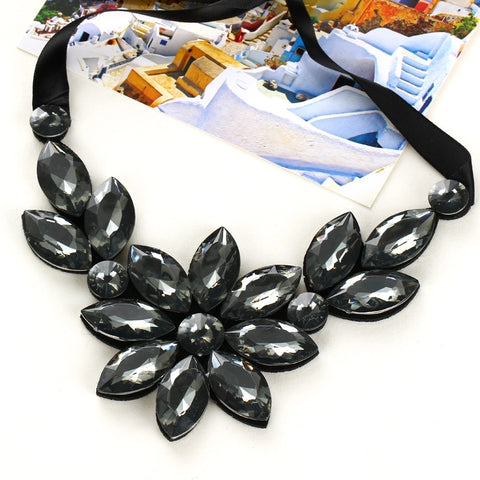 Statement Necklace: Floral Statement Necklace with ribbon tie