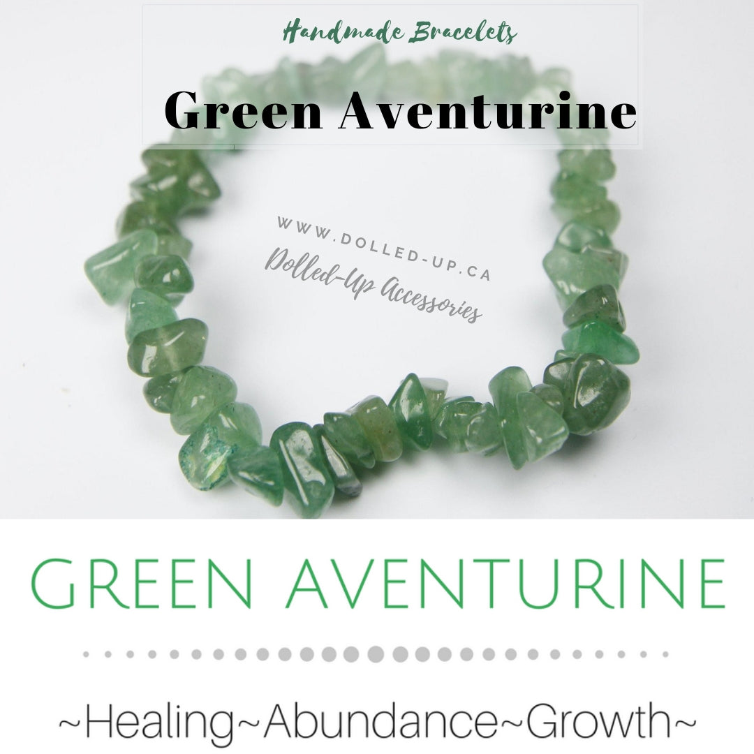 ***NEW: Bracelet - Handmade Beaded Gemstone Bracelet - Stretch - Different Sizes Available - Type of Stones: GREEN AVENTURINE chip beads