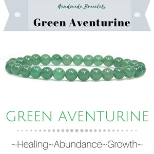 ***NEW: Bracelet - Handmade Beaded Gemstone Bracelet - Stretch - Different Sizes Available - Type of Stones: GREEN AVENTURINE 6mm beads