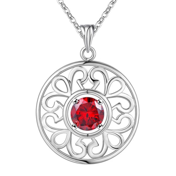 Pendant Necklace: exquisite round necklace - red