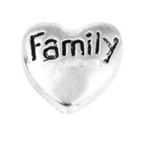 "Floating Charm: Family Collection - ""Family"" Heart"