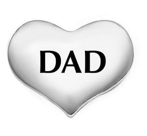 "Floating Charm: Family Collection - ""Dad"" Heart"