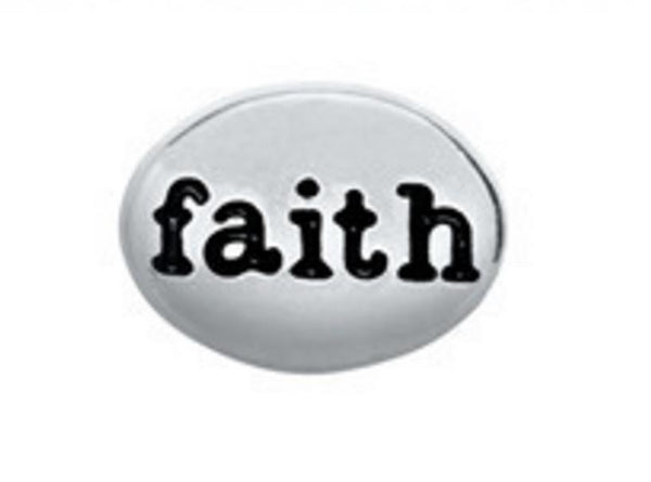 Floating Charm: Inspirational Collection - Faith Oval Pebble
