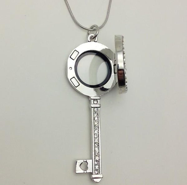 Floating Charm Jewellery: Pendant - Round-Face Key - Gemstones