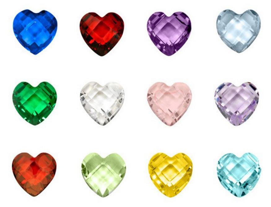 Floating Charm: Birthstone Collection - Heart Shaped Birthstone Charm