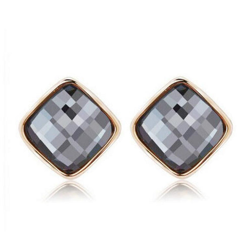 "Earrings - ""Smokey Sky"" Oversized Square Stud Earrings"