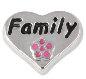 "Floating Charm: Family Collection - ""Family"" Heart with Pink Flower"