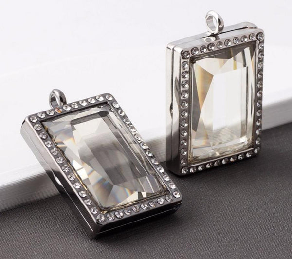Floating Charm Jewellery: Pendant - Rhinestone Rectangle