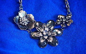 Statement Necklace: Pewter-Tone Floral Elegance Understated Beautiful Statement Necklace