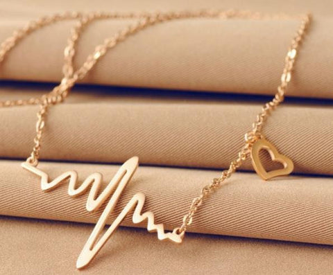 Necklace: Heart Beat Connected-Style Pendant Necklace