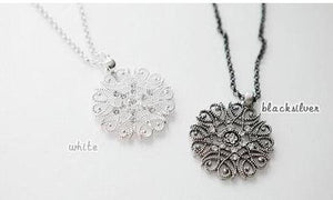 "Long Necklace: ""Cute & Classy"" Trendy Boho Long Dangly Vintage Circle 'Snowflake' Pendant Necklace"