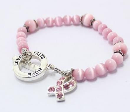 "BREAST CANCER AWARENESS - ""Think Pink"" Faith, Love, Hope, Cat-eye Style Toggle-clasp Bracelet"