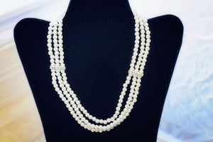 Statement Necklace:  Elegantly Sophisticated Rhinestone Accent Pearl Collarbone-Length Feminine Statement Necklace