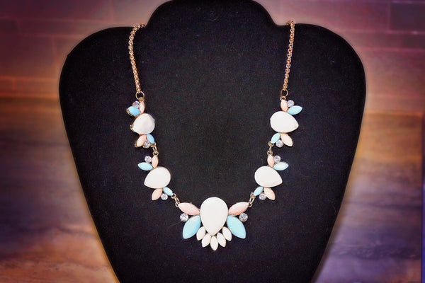 "Statement Necklace: ""Spring has Sprung"" Abstract Floral Design Pastel Statement Necklace"