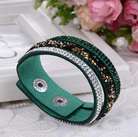 Bracelet: Blinged-Up Snap-Closure Adjustable-Size Wrap-Bracelet (Multiple Colours Available)